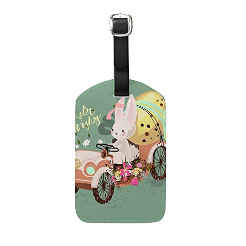 Ruchen - Juego de etiquetas para maleta, diseño de conejo, liebre, huevo...