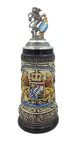 Zöller & Born Chope de bière Allemande étain Bavaria Armoiries nationales dans Le Panneau Central 0,5 litres