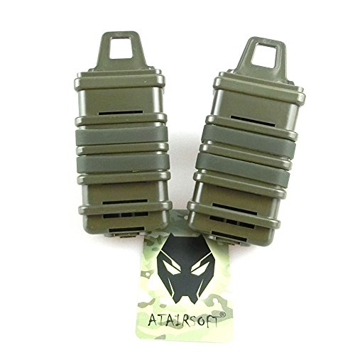 ATAIRSOFT 2X Double Fast Attach MP7 MAG Magazine Pouch Molle Holster Holder Set 4 Colors (Black, DE, FG,OD) for Tactical Airsoft (OD)