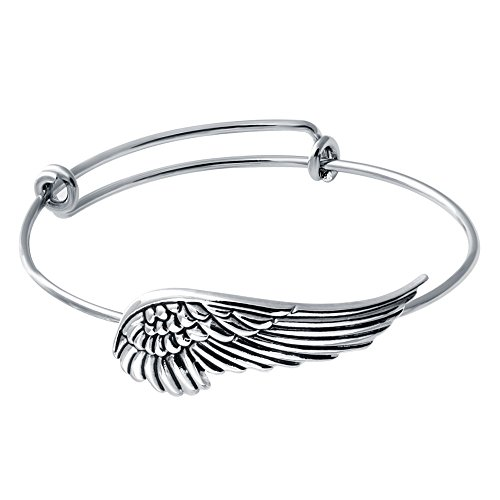 SENFAI Supernatural Protection Angel Wing Adjustable Love Bangles Women Girl Charm Bracelets Gifts (Antique Silver)
