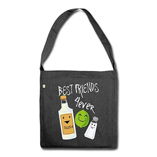 Beste Freunde Für Immer Tequila Limette Salz Schultertasche aus Recycling-Material, Schwarz meliert