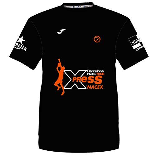 Barcelona Padel Tour | Camiseta Técnica de Manga Corta para Hombre Joma Xpress by Nacex con Estampación Especial de Pádel | De Tacto Suave y Secado Rápido | Ropa Deportiva Negro L