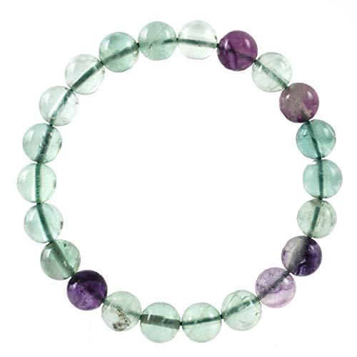 Natural Multicolor Fluorite Bracelet Gemstone Bracelet 7 inch Stretchy Chakra Gems Stones Healing Crystal (Unisex) GB8-2