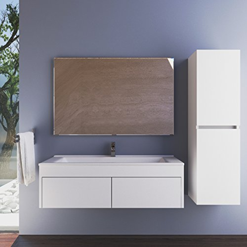 Best Prices! Casa Mare 26 Eco White Wall Mount Bathroom Vanity Set with Mirror Wall Mount Cabinet (...