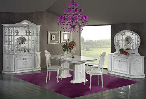 BYBLOS - Juego de mesa de comedor y comedor barroco lacado en color blanco y plateado