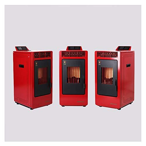 LSF Poêle À Granulés Automatique d'hiver Commerciale des ménages biomasse Granules Combustibles Foyer Chauffage Cheminée Poêle à Chaud Souffle Plomberie Cuisinière (Color : Red 60-80Square Meter)