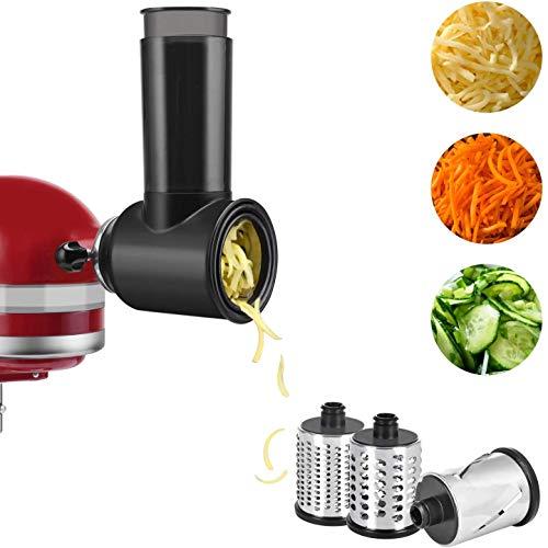 Slicer Shredder Attachment for KitchenAid, Shredding and Grating Accessory for KitchenAid Stand Mixers as Vegetable Chopper Accessory COFUN Salad Maker Attachment (Black)