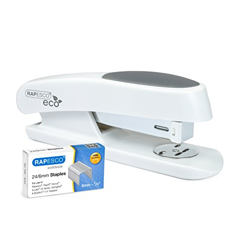 Rapesco ECO Sting Ray - grapadora de media carga, mas una caja de 1000 grapas 24/6mm, blanco mate