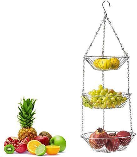 CCLLA Fruteros Fruit Basket Corbeille & agrave;Fruits Suspendue en 3 & Eacute; tages, Corbeille de Fruits, Porte-Fruits, Rangement Pour Fruits, l & Eacute; gumes, ustensiles de Cuisine et Pour FL