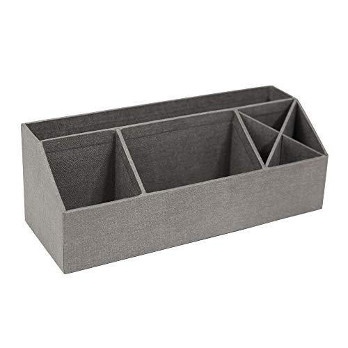 Bigso Box of Sweden Schreibtisch Organizer mit 4 Fächern – Ordnungssystem für Zettel, Büroklammern, Stifte usw. – Sortierkasten aus Faserplatte und Papier in Leinenoptik – grau