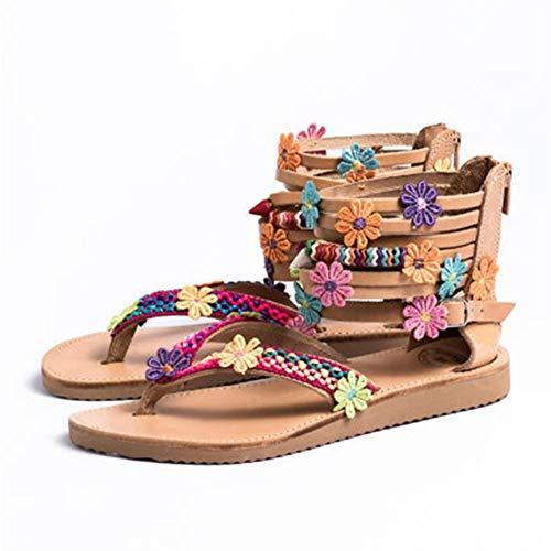 AQTEC Women Sandals, Thong Flat Sandals Summer Bohemian Flip Flop Leather Zipper Sandals Fashion Floral Decoration Beach Sandals Shoes,38.5 EU