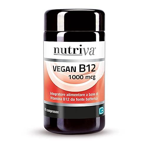 Nutriva Vegan B12 1000 mcg, Vitamina B12 de Origen Bacteriano apta para Veganos (60 cápsulas)