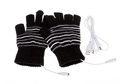 Lsgoodcare USB 2.0 Stripe Pattern Fingerless Heating Knitting Wool Hands Warm Gloves Gloves