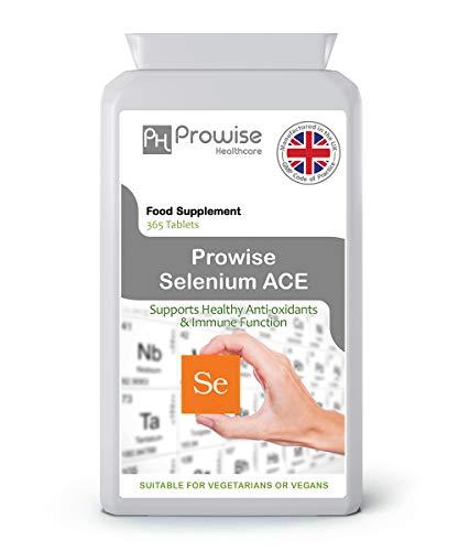 Selenium ACE 365-tabletten - Dagelijks één per dag Seleniumsupplement met vitamine A, C en E - VK Vervaardigd volgens GMP Gegarandeerde kwaliteit - Geschikt voor vegetariërs en veganisten door Prowise Healthcare