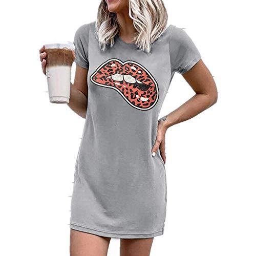 NOBRAND Mini vestido de manga corta con estampado de leopardo, cuello redondo, para mujer
