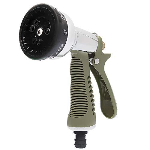 Worth Garden Aleación de zinc 9 Pistola rociadora ajustable, boquilla de alta presión Ideal para lavado de autos, limpieza, césped de riego y jardín # 5197