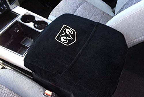 Car Console Covers Plus Official Licensed Embroidered Logo Auto Armrest Center Console Cover for Ram 2014-2021 Cover fits All The Pics Shown Except Red X Photo FYI Ram Has Changed The Logo to Silver
