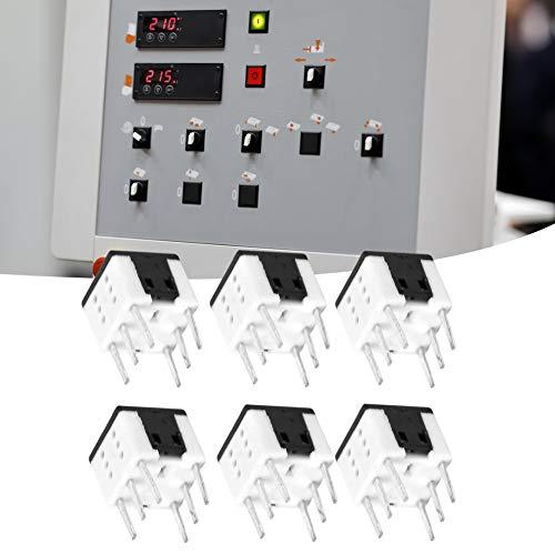 Weikeya Interruptor de Enclavamiento, Varios pestillos de pulsador con plástico 6 Pin (Blanco)