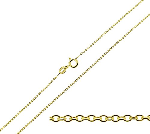 CJoL - 9ct Gold Plated on 925 Sterling Silver 18' (46cm) 1mm Wide Trace / Cable Chain In Simple Gift Bag - 1g