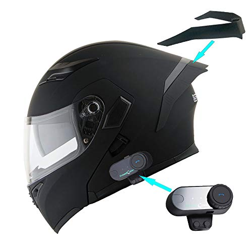 1Storm Motorcycle Modular Full Face Flip up Dual Visor Helmet + Spoiler + Motorcycle Bluetooth Headset: HB89 Matt Black