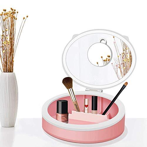 Schminkspiegel mit Lichtern, LED-Kosmetikspiegel mit Make-up-Organizer, 10-fache Vergrößerung, 3 Farbbeleuchtungsmodi, tragbares Faltdesign, duales Netzteil, Touch-Steuerung, Pink