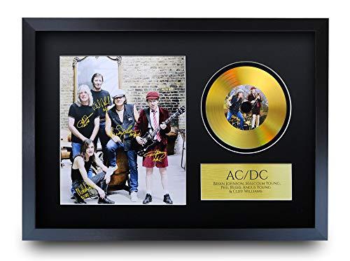 HWC Trading A3 FR ACDC Malcolm Angus Young Brian Johnson Gifts Signiertes Autogramm mit Goldener Scheibe Bilddruck für Fans von Musik-Erinnerungsstücken – A3 gerahmt
