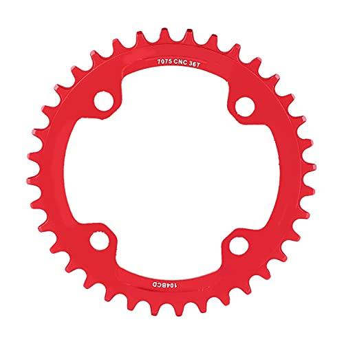 Kuuleyn Juego de bielas de Acero Universal con Enlace de 32/34/36/38 Dientes, piñón de Bicicleta para Piezas de reparación de Bicicletas de montaña ordinarias adaptadas a Accesorios(38T-Rojo)