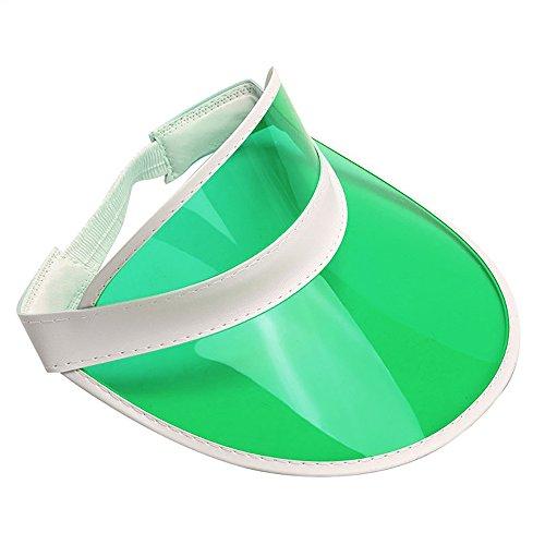 Clear Colored Plastic Sun Visor Tennis Beach Bingo Vegas Dealer Golf Casino Hat Green