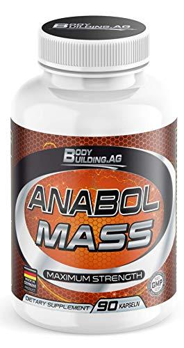 Anabol Mass - Hochdosierte Muskelaufbau Kapseln Booster I L-Arginin hochdosiert I Bodybuilding Nahrungsergänzungsmittel I Aminosäuren Komplex (90 Pillen)