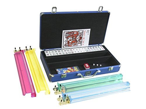 White Swan Mah Jongg American Mahjong Game Set Includes 166 White Tiles, Pusher Arms and Blue Aluminum Case