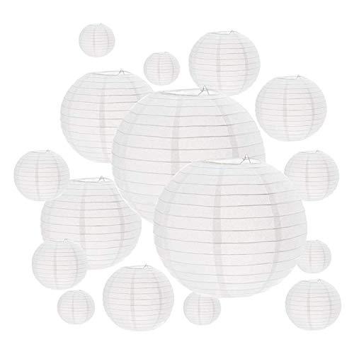 Autman confezione da 16lanterne di carta bianca, dimensioni varie, lanterne decorative, decorazioni da appendere cinese lanterna a sfera lampade per decorazioni per la casa, feste e matrimoni