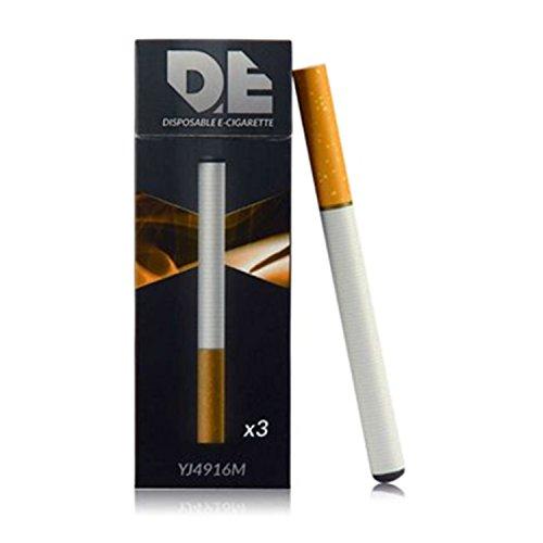 DE - desechable E-cigarrillo (3 unidades por paquete) al gusto del tabaco 500 inhalaciones cada una con batería de 280mAh y el volumen de vapor elevada ((sin nicotina y sin tabaco)