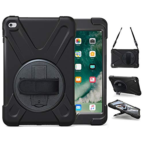 iPad Mini 5 Case, iPad Mini 4 Case, TSQ Heavy Duty Three Layer Drop Protection Shockproof Rugged Protective Case with Stand, Handle, Shoulder Hand Strap for iPad Mini 4th/5th Generation 7.9 inch Black