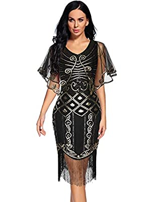 NeeMee Women's 1920s Great Gatsby Art Deco Sequins Fringed Cocktail Flapper Dress with Shawl
