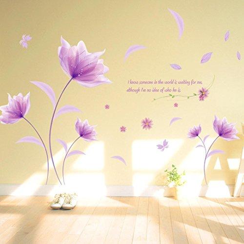 Ouneed® Wandaufkleber Wandtattoo Wandsticker, DIY lila Blumen Umwelt Layout TV Hintergrund Wand Dekoration abnehmbare Wandaufkleber
