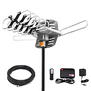 HDTV Antenna Amplified Digital Outdoor Antenna 150 Miles Range 360 Degree Rotation Wireless Remote,with 33FT Coax Cable - Support UHF/VHF/1080p/ 4K Ready -Without Pole