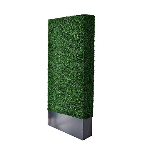 AGPL Upgraded Artificial Boxwood Hedge Wall with Dark Gray Stainless Steel Planter (96' Height 48'...