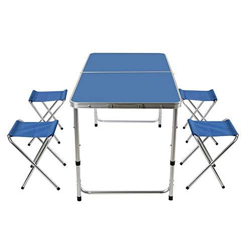 Cloudbox Juego de Mesa para Exteriores, portátil, Plegable, para Acampar, Picnic, Mesa de Comedor con 4 sillas, como Camping, Picnic, Pesca, Barbacoa