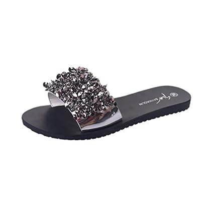 RAISINGTOP Women Lady Flips Flop Slippers Glitter Sandals Summer Shoes Wedges Rhinestone Slip On Indoor Comfortable (US 7, Silver)