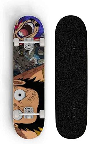Skate de 78 cm Anime One Piece: Macaco D. Luffy 7 camadas Maple Longboard Cartoon Slide Plate Skate Profissional Longo Skate Skate Adolescente Girl Brush Street Long