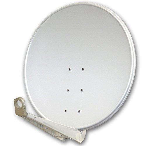 PremiumX DELUXE100 Satellitenschüssel 100 cm Sat Schüssel aus Aluminium in Hellgrau Offset Satelliten Antenne FullHD 3D 4K Ultra HD