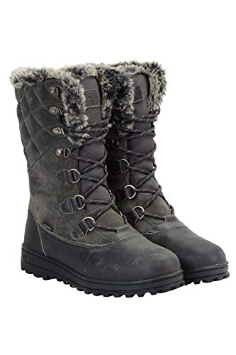 Mountain Warehouse Vostock Womens Snow Boots - Waterproof, Sturdy Grip, Leather, Textile Upper, Thermal, High Traction - Great for Walking in Cold Winter Temperatures Grey Womens Shoe Size 7 UK