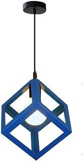 STOEX Suspension Luminaire Industrielle Contemporain, Lustre Abat-Jour Plafonnier en Métal Fer Cage E27 (Cube-Bleu)