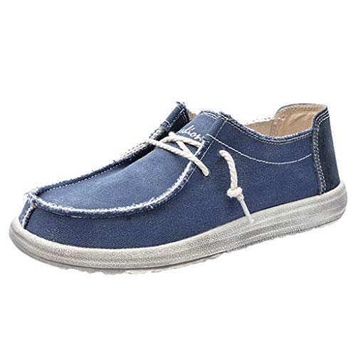 Buy ZOMUSAR Men Canvas Breathable Casual Driving Shoes Slip Easy to Wear Flat Shoes Loafers Blue