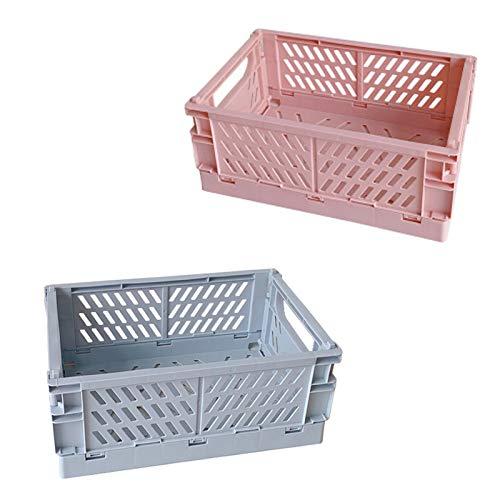 OuSaiVen Scatola portaoggetti Pieghevole in plastica - Set di 2 (Blu&Rosa)