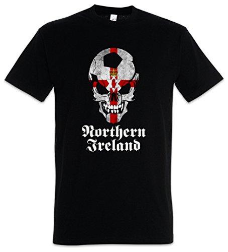 Urban Backwoods Black Classic Northern Ireland Irish Football Soccer Skull Flag Herren T-Shirt Schwarz Größe 2XL