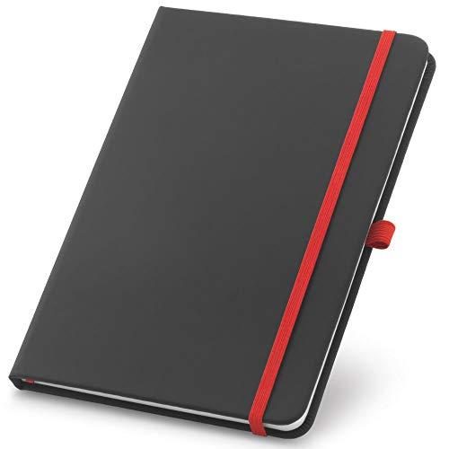 Caderneta de Anotações 9x14cm 80 Folhas Pautadas Preto e Vermelho