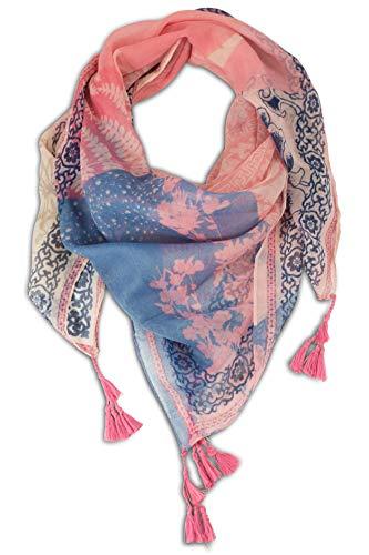 fashionchimp ® Damenschal mit Zier-Quasten und Muster-Mix Stickerei, Fransen-Schal, Dreieck-Tuch (Blau-Rosa)