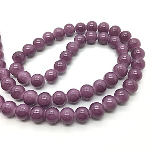 Venta al por mayor 4mm 6mm 8mm 10mm Color Jade vidrio redondo perlas sueltas cuentas DIY fabricación de joyas 40 colores Pick-YL34,6mm
