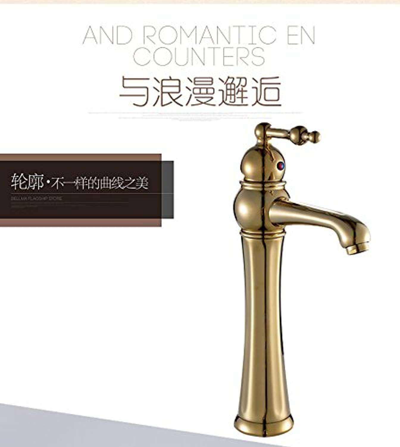 U-Enjoy Deck Mounted gold Top Quality Bathroom Mixer Tap with Single Handle Classic Bathroom Sink Faucet for golden Faucet (Free Shipping)